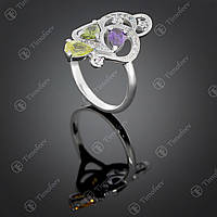 Серебряное кольцо с самоцветами. Артикул П-418