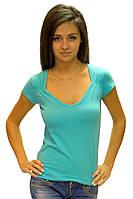 Бирюзовая футболка женская летняя яркая с коротким рукавом и вырезом хлопок стрейч трикотажная (Украина)