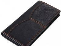 Вертикальное мужское кожаное портмоне TIDING BAG 8059A, черный
