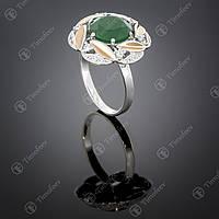 Серебряное кольцо с агатом и фианитами. Артикул П-419