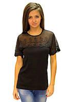 Черная футболка женская большая нарядная на лето с коротким рукавом гипюр хлопок трикотажная (Украина)