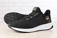 Мужские кроссовки, черные, из натуральной кожи, с текстильными вставками, на белой подошве, на шнурках