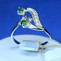 Кольцо на фалангу серебро с зелеными камнями кс 961