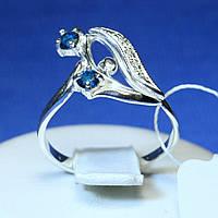 Серебряное кольцо с синим куб. цирконом кс 961с