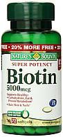 Биотин для волос Nature'sBounty, 5000 мкг, 72 быстрорастворимых таблетки