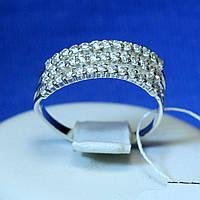 Серебряное кольцо с цирконом в три ряда кс 1285, фото 1
