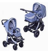Универсальная коляска 2в1 Teutonia Cosmo V3 с мягкой люлькой-переноской (синий джинс/клетка, шасси серебристое