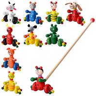 Деревянная игрушка Каталка MD 0024  на палке 48,5см, животное (насекомое) 12см, 10видов (коровка, лягушка, мышка, мишка, собачка, олень, кот - 2 вида