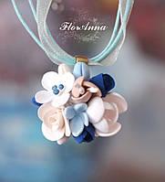 """""""Воздушный градиент"""" авторский кулон с цветами из полимерной глины. Подарок на 8 марта"""