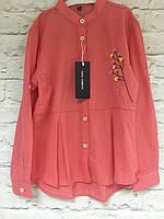 Блузка-рубашка коралл  для девочек 98-152