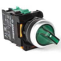 Выключатель переключатель для монтажа на панель управления щиток шкаф. Ток коммутации 10А, PLASTIM.  Подсветка 220В, 0-1, Зеленый