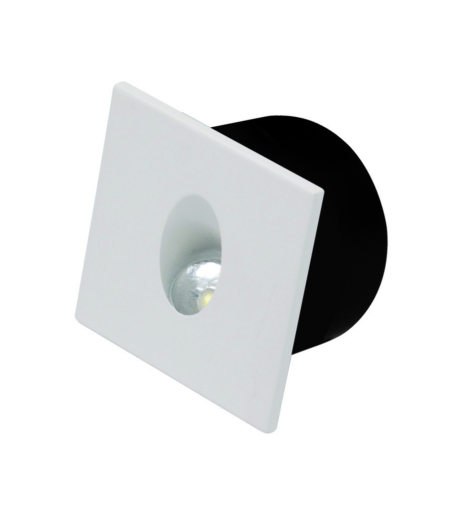Светильник лестничный HOROZ ELECTRIC ZUMRUT LED 3W 4000K 85Lm 185-264V 80х80мм квадрат белый/мат.хро