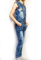 Осенне-весенние джинсовые брюки-комбинезоны для девочек от 5 до 14 лет. (116-152см.) Niebieski. Польша....