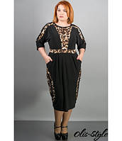 Черное женское платье большого размера Жози леопард  ТМ Olis-Style 54-64 размеры