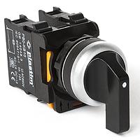 Выключатель переключатель для монтажа на панель управления щиток шкаф. Ток коммутации 10А, PLASTIM.  Без подсветки, 1-0-2, Черный удлиненный