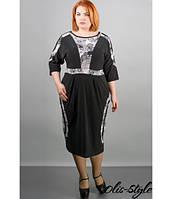 Черное женское платье большого размера Жози ажур ТМ Olis-Style 54-64 размеры