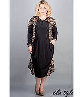 Черное женское платье большого размера Берта леопард ТМ Olis-Style 54-64 размеры