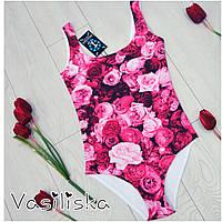 Женский стильный боди - купальник розового цвета