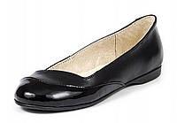 Туфли женские балетки подростковые кожаные с лаком чёрные с кожаной подкладкой на термополиэстеровой подошве.