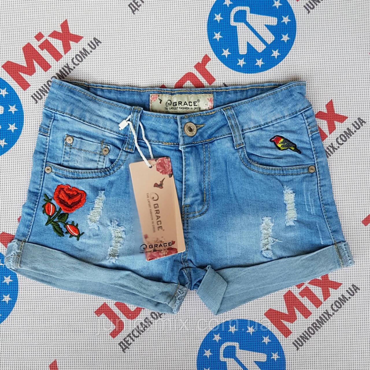 Шорты джинсовые на девочку подростка с вышивкой GRACE