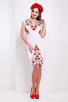 Белое платье в украинском стиле нарядное с красными цветами, со съемной шифоновой юбкой, S M L, фото 3
