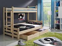 """Кровать двухъярусная деревянная """"Бенджамин"""" (три спальных места)"""