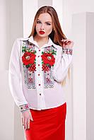 Блуза вышиванка женская белая с красными маками