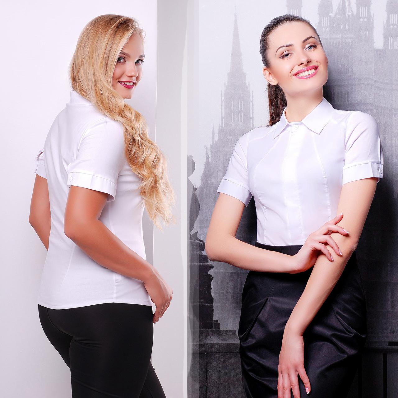 4c32be54326 Купить Женская белая офисная летняя рубашка со скрытыми пуговицами ...