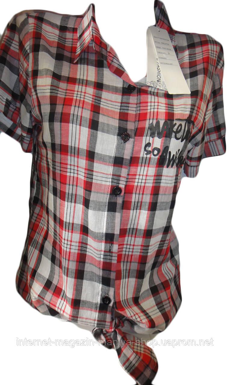 Рубашка женская сатин в клетка 062
