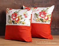 Декоративные наволочки для подушек Spring Flowers orange, 2 шт, 45х45 см Авторский дизайн