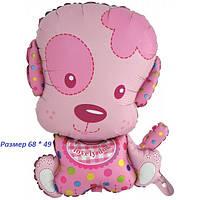 Воздушный шарик из фольги Розовый щенок девочка 68 х 49 см
