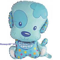 Воздушный шарик из фольги Голубой щенок мальчик 68 х 49 см