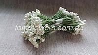 Тайские тычинки круглые, белые на зеленой нитке, фото 1