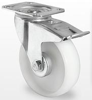Колесо поворотное с тормозом, подшипник скольжения 100 мм, полиамид (Германия),