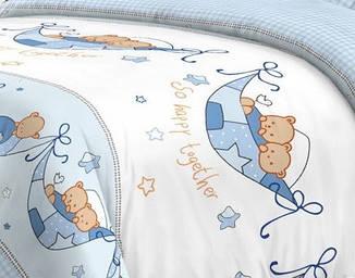 Детский комплект постельного белья Home Line Сатин 110х147 Вместе веселее Голубой, фото 2
