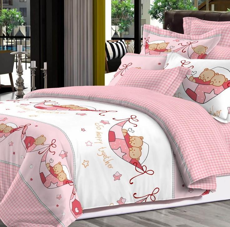 Детский комплект постельного белья Home Line Сатин 110х147 Вместе веселее Розовый