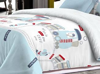 Детский комплект постельного белья Home Line Сатин 110х147 Поезд, фото 2