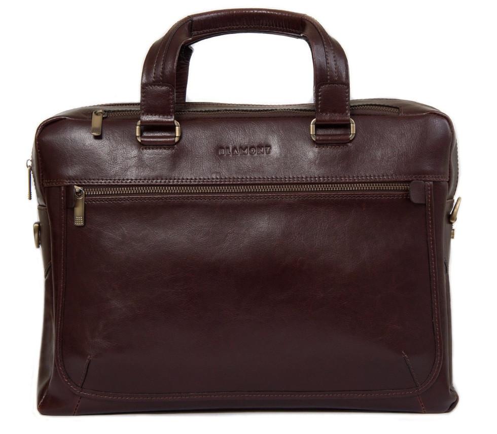 Кожаная мужская деловая сумка Blamont 005 темнокоричневая