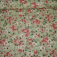 Ткань с мелкими розово-персиковыми цветочками на бежевом фоне, ширина 145 см, фото 1