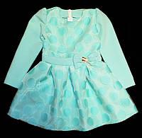 Нарядное детское платье органза, мята 92-116р