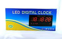 Светодиодные настенные часы LED Clock 4522 красные, дата, день недели, температура, питание 220 В