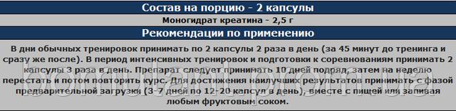 состав Creatine 2500 200 капс