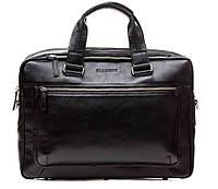 Кожаная мужская деловая сумка Blamont 005 черная матовая