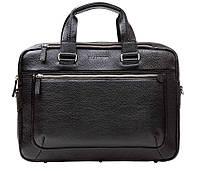 Кожаная мужская деловая сумка Blamont 005 черная фактурная