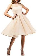Выпускное бежевое миди платье по колено А-силуэта