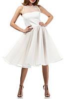 Короткое белое вечернее платье  А-силуэта на свадьбу,роспись в загсе