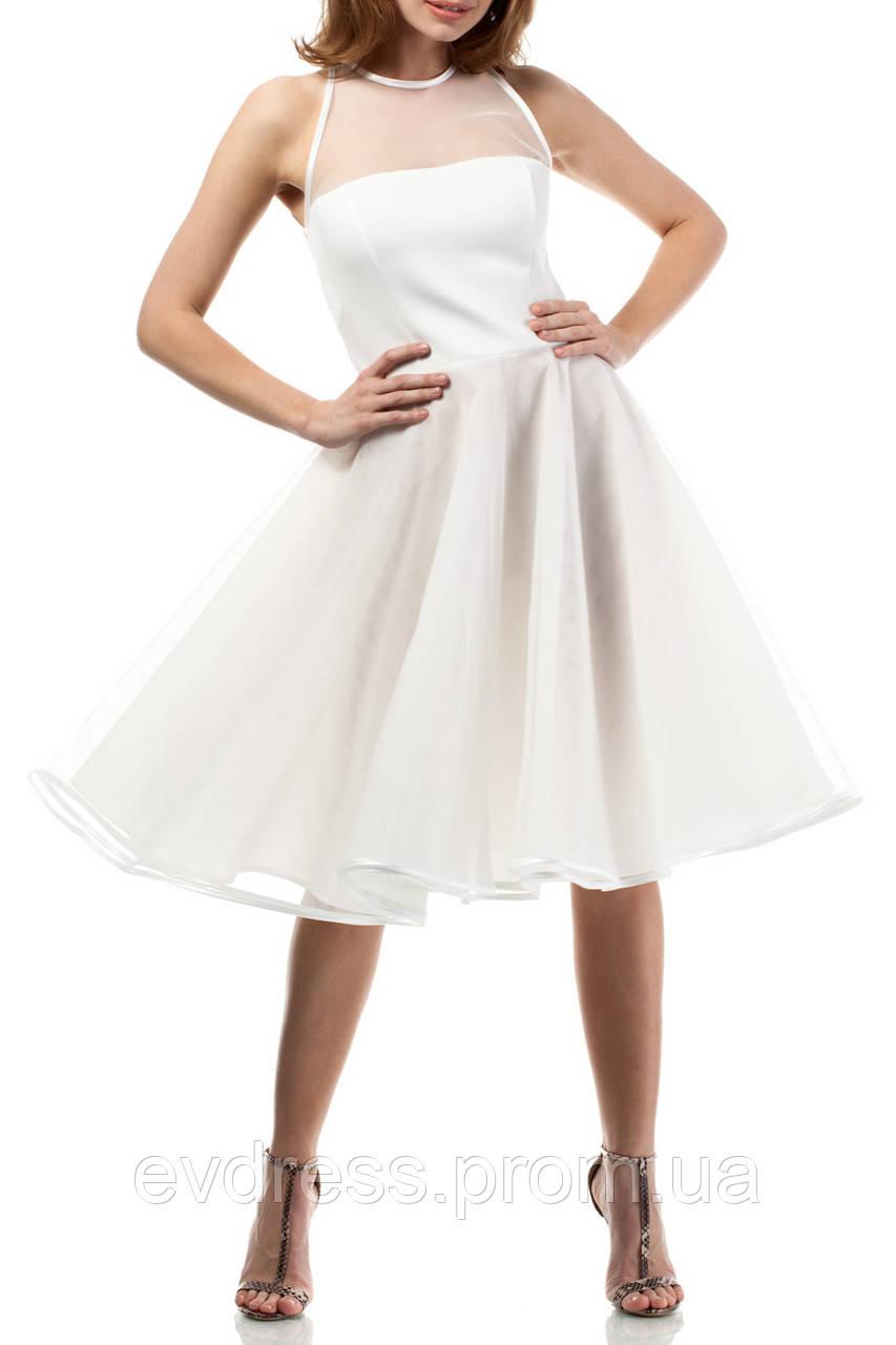 c3d73341d1d Короткое белое вечернее платье А-силуэта на свадьбу