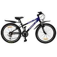 Спортивный велосипед 24 дюйма PROFI - MODE XM242 (черно-синий) на алюминиевой раме