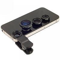 Линзы для камеры телефона HY-067, набор 3 в 1 (Fish eye, Wide, Macro), клипса, 2 крышечки, кольцо
