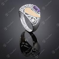 Серебряное кольцо с аметистом и цирконами. Артикул П-421